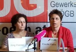 Beate Neunteufel-Zechner und Klaudia Paiha: mit Arbeitszeitverkürzung zu einer gerechten Verteilung von Arbeit.