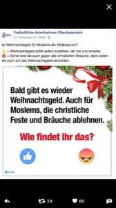 Screenshot von der FA OÖ -Facebook-Seite. Die FA will über das Weihnachtsgeld und wer's bekommen soll abstimmen lassen ...